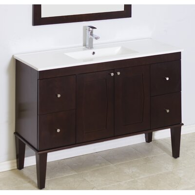 Harrop Floor Mount 48 Single Bathroom Vanity Set Faucet Mount: Single Hole