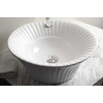 Above Counter Circular Vessel Bathroom Sink with Overflow