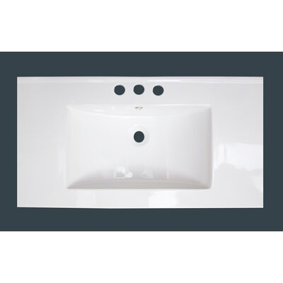 Drake Ceramic 36 Single Bathroom Vanity Top Top Finish: White, Faucet Mount: 4 Centers