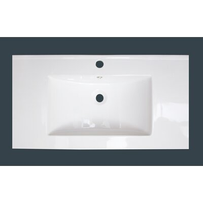 37 Single Bathroom Vanity Top Faucet Mount: 4 Centers, Drain Color: White