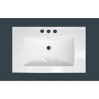 Vee Ceramic 21 Single Bathroom Vanity Top Faucet Mount: 8 Centers, Overflow Color: White