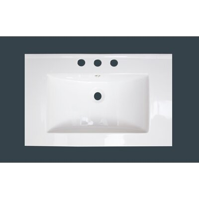 25 Single Bathroom Vanity Top Faucet Mount: 8 Centers, Drain Color: White