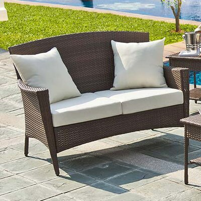 Key Biscayne Loveseat with Cushions Fabric: Canvas Natural
