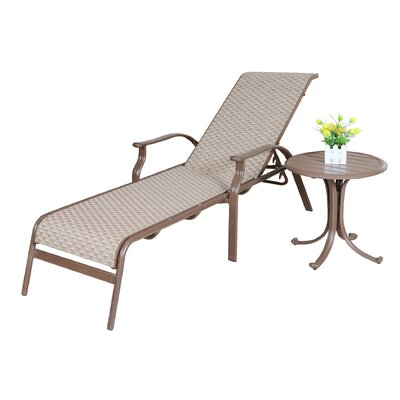 Island Breeze Sling Chaise Lounge & End Table