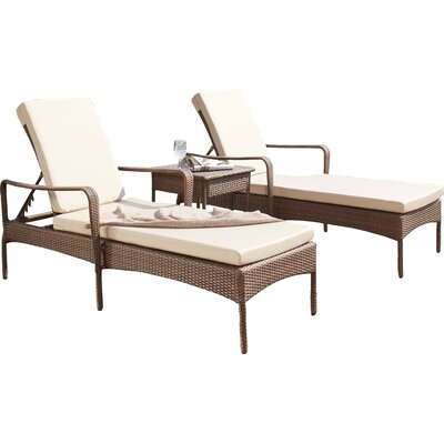 Key Biscayne 3 Piece Chaise Lounge Set with Cushion Fabric: Cabaret Blue