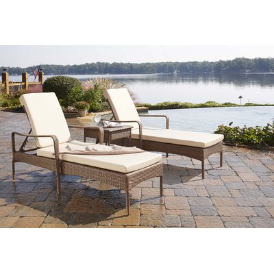 Key Biscayne 3 Piece Chaise Lounge Set with Cushion Fabric: Canvas Natural