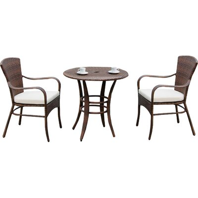 Key Biscayne 3 Piece Bistro Set with Cushion Fabric: Foster Metallic