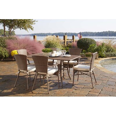 Key Biscayne 7 Piece Dining Set with Cushions Fabric: Linen Champagne