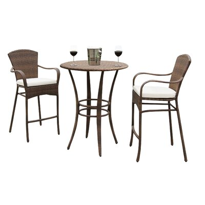 Key Biscayne 3 Piece Bar Set with Cushion Fabric: Foster Metallic