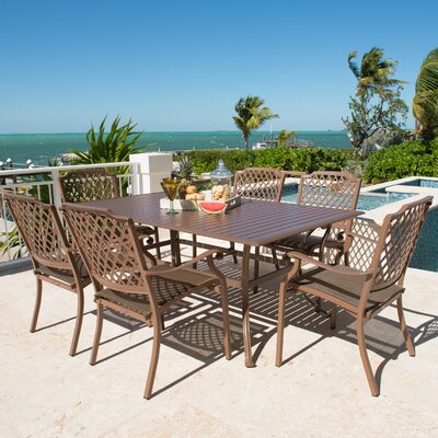 Island Breeze 7 Piece Dining Set Table Size: 72 L x 42 W