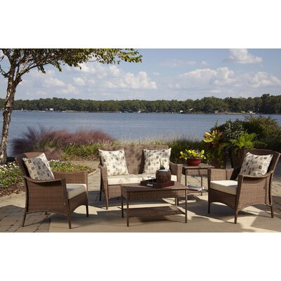 Key Biscayne 5 Piece Deep Seating Group Fabric: Frequency Sand