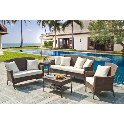 Key Biscayne 5 Piece Seating Group with Cushions Fabric: Canvas Natural