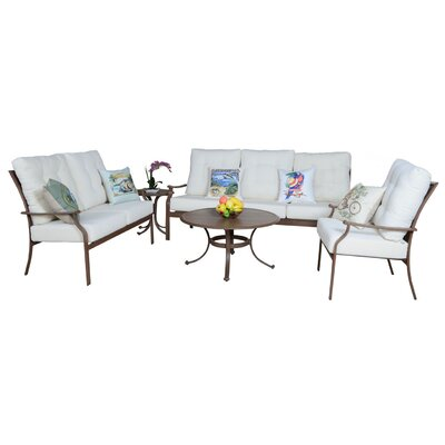 Island Breeze 5 Piece Deep Seating Chair Set with Cushion Fabric: Foster Metallic