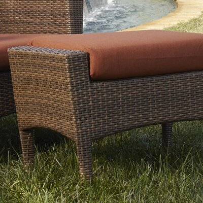 Key Biscayne Ottoman with Cushion Fabric: Dupione Bamboo