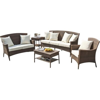Key Biscayne Loveseat with Cushions Fabric: Spectrum Almond
