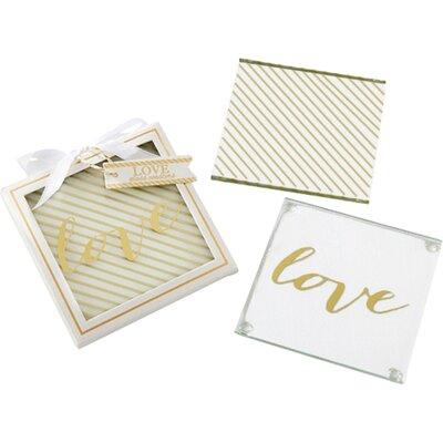 Gold Love Glass Coaster (Set of 12) 27096NA