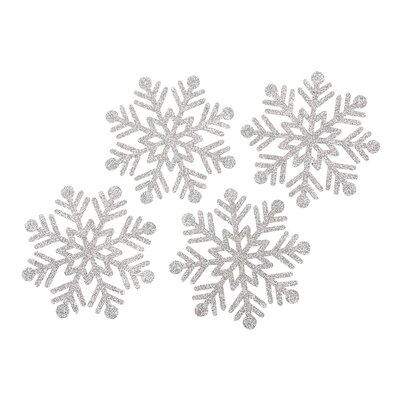 Glitter Snowflake Felt Coaster (Set of 4) Color: Silver