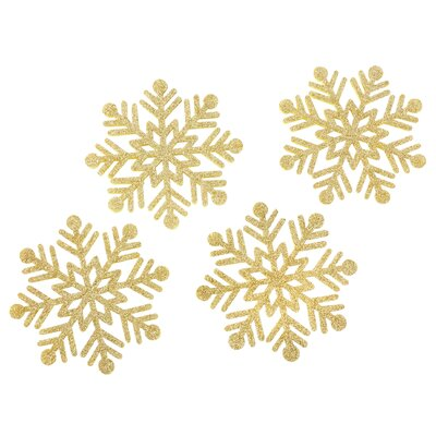 Glitter Snowflake Felt Coaster (Set of 4) Color: Gold