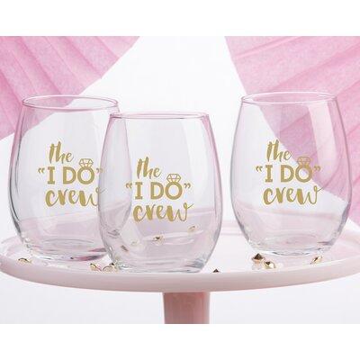 The I Do Crew Glass 15 Oz. Stemless Wine Glass Set THDA1698 41560129
