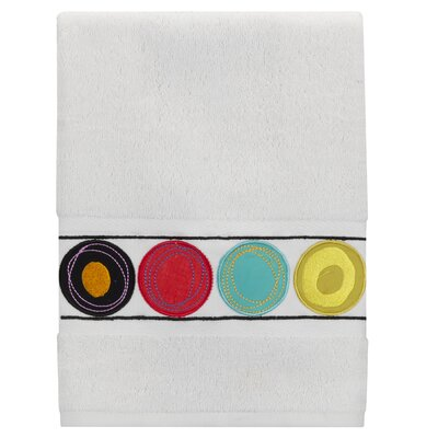 Dot Swirl Embroidered Hand Towel Color: Bright