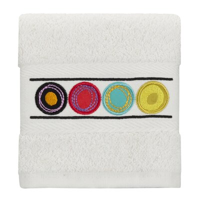 Dot Swirl Embroidered Wash Cloth Color: Bright