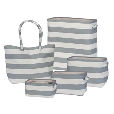 5 Piece Soft Side Stripe Laundry Set Color: Grey