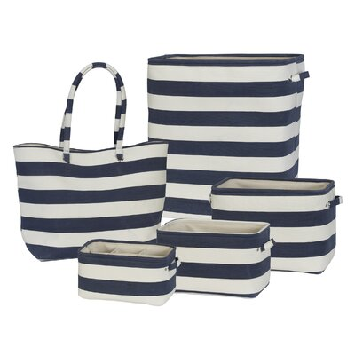 5 Piece Soft Side Stripe Laundry Set Color: Navy