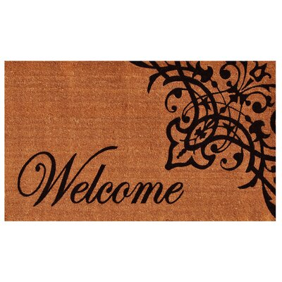 Skelley Scroll Welcome Doormat Rug Size: 2 x 3