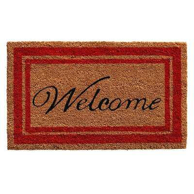 Worth Border Welcome Doormat Rug Size: 16 x 26, Color: Red