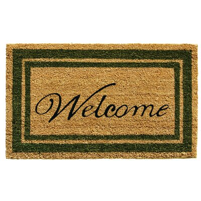Border Welcome Doormat Rug Size: 2 x 3, Color: Sage Green