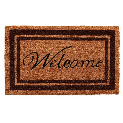 Worth Border Welcome Doormat Rug Size: 16 x 26, Color: Brown