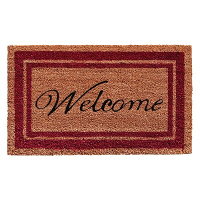 Border Welcome Doormat Rug Size: 16 x 26, Color: Burgundy