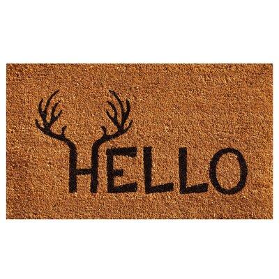 Antler Hello Doormat Rug Size: 2 x 3