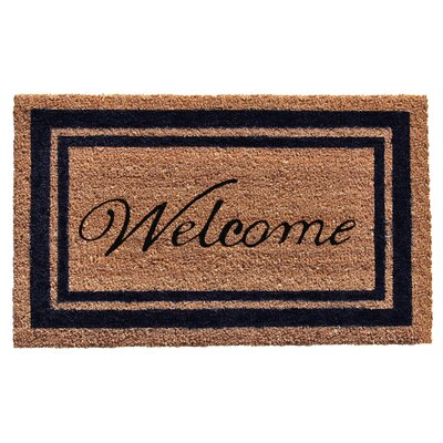 Border Welcome Doormat Rug Size: 2 x 3, Color: Dark Blue