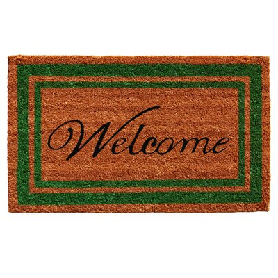 Worth Border Welcome Doormat Rug Size: 16 x 26, Color: Green