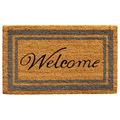 Border Welcome Doormat Rug Size: 16 x 26, Color: Perwinkle