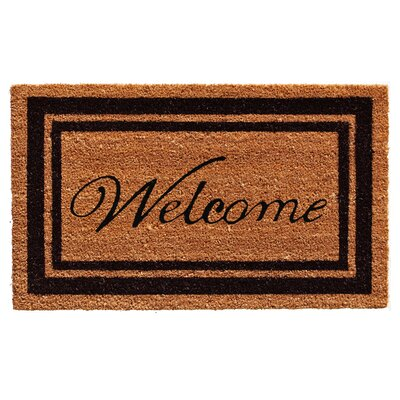 Worth Border Welcome Doormat Mat Size: Rectangle 2 x 3, Color: Burgundy