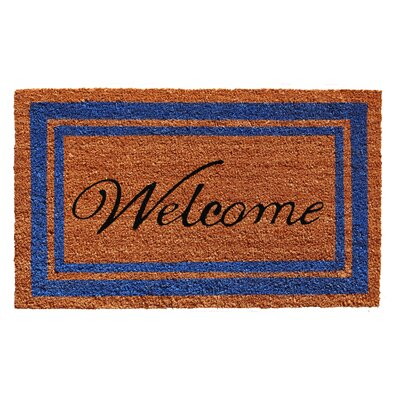 Border Welcome Doormat Rug Size: 2 x 3, Color: Blue