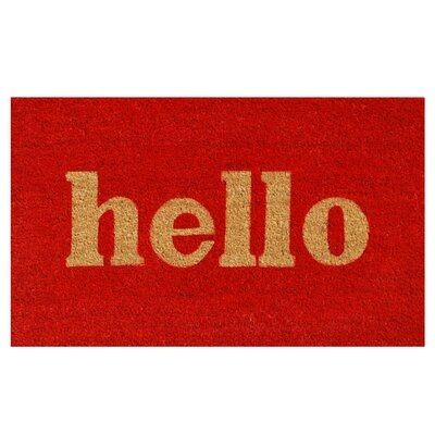 Hello Doormat Rug Size: 15 x 25, Color: Red