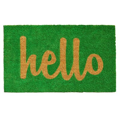 Groesbeck Hello Doormat Rug Size: 2 x 3, Color: Green