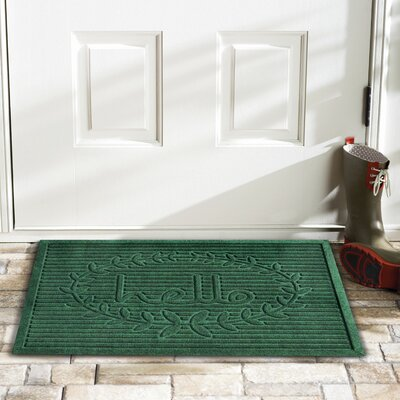 Hello Doormat Rug Size: 2 x 3, Color: Green