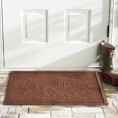 Hello Doormat Rug Size: 2 x 3, Color: Brown