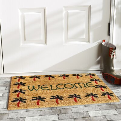 Palm Tree Border Welcome Doormat