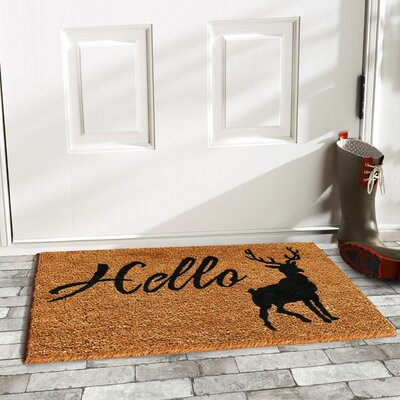 Hello Elk Doormat Rug Size: Rectangle 15 x 25