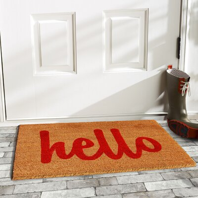 Groesbeck Hello Doormat Rug Size: 15 x 25, Color: Tan/Red