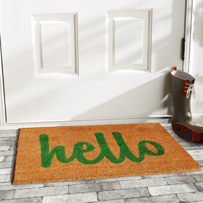Groesbeck Hello Doormat Rug Size: 2 x 3, Color: Tan/Green