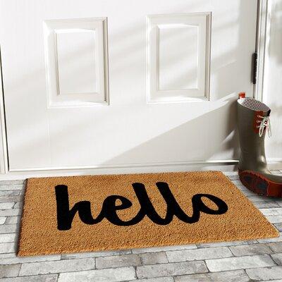 Groesbeck Hello Doormat Rug Size: 15 x 25, Color: Tan/Black