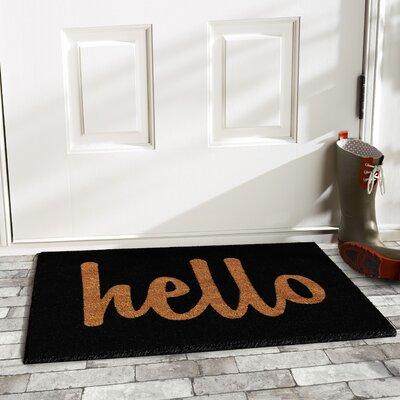 Groesbeck Hello Doormat Rug Size: 15 x 25, Color: Black