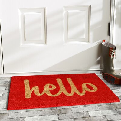 Groesbeck Hello Doormat Rug Size: 15 x 25, Color: Red