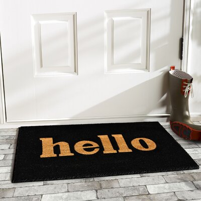 Hello Doormat Rug Size: 2 x 3, Color: Black